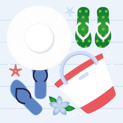 Vector verano elementos y accesorios