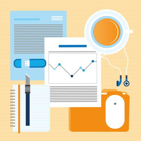 Vector Work Place Items Illustration