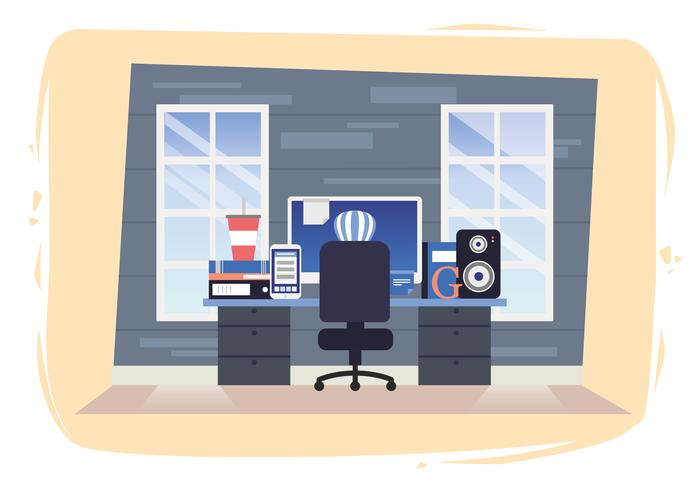 Vetorial, trabalho, lugar, desenho, ilustração