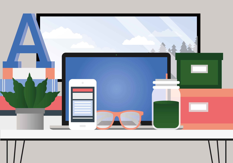 Vector Illustration Web Designs: Vector Work Place Design Illustration