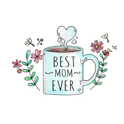 Linda taza con flores y hojas con corazón para el día de la madre
