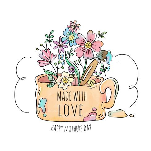 Caneca velha bonita com flores, folhas e escova para o dia das mães