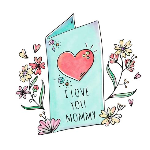 Cute Greeting Card With Flowers And Leaves To Mother's Day