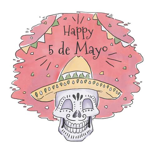 Cute Mexican Skull With Hat To Cinco De Mayo