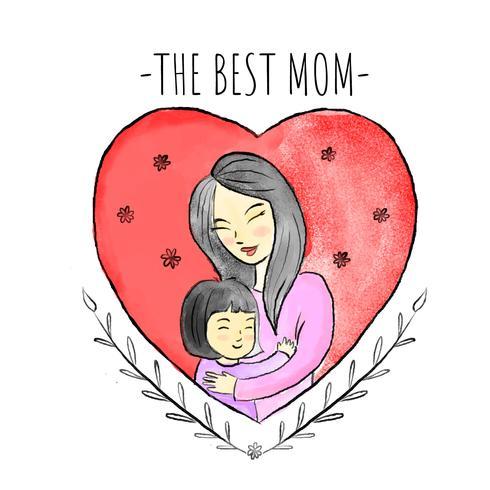 Linda madre con niña dentro de corazón rojo y hojas alrededor