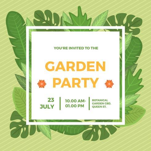 Flat Garden Party Invitation Vector Template
