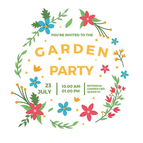 Flat Garden Party Invitation Vector Template