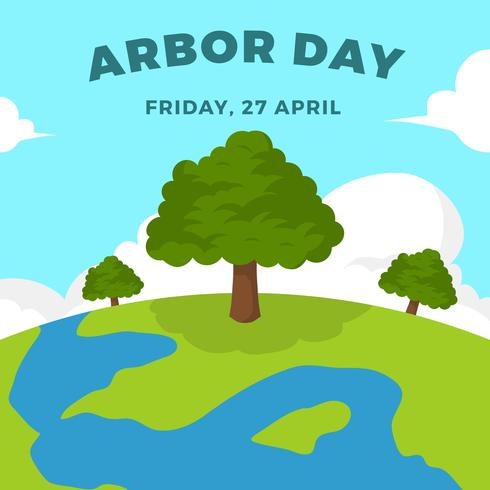 Flat Arbor Day Vector Illustration