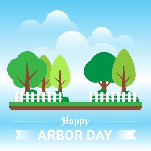 Dia da árvore com ilustração de árvore verde