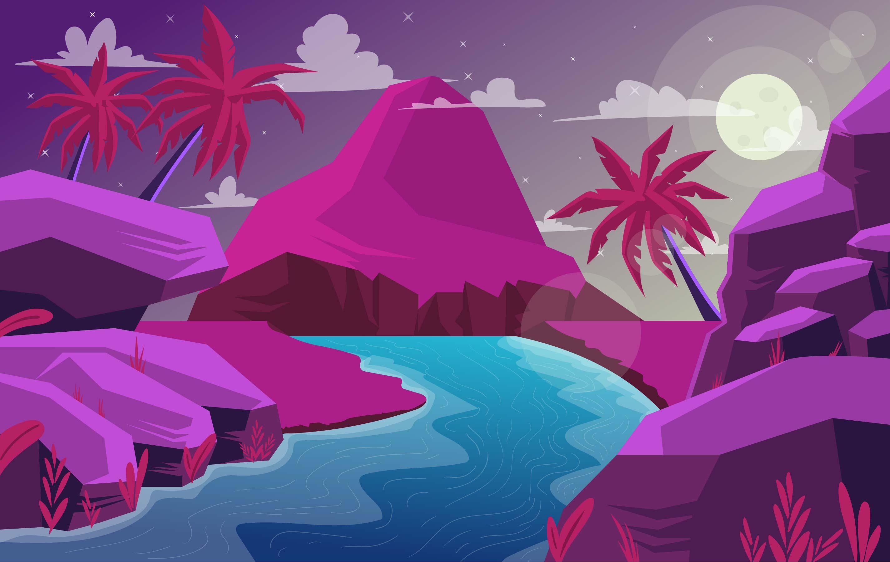 Landscape Illustration Vector Free: Vector Fantasy Desert Landscape Illustration