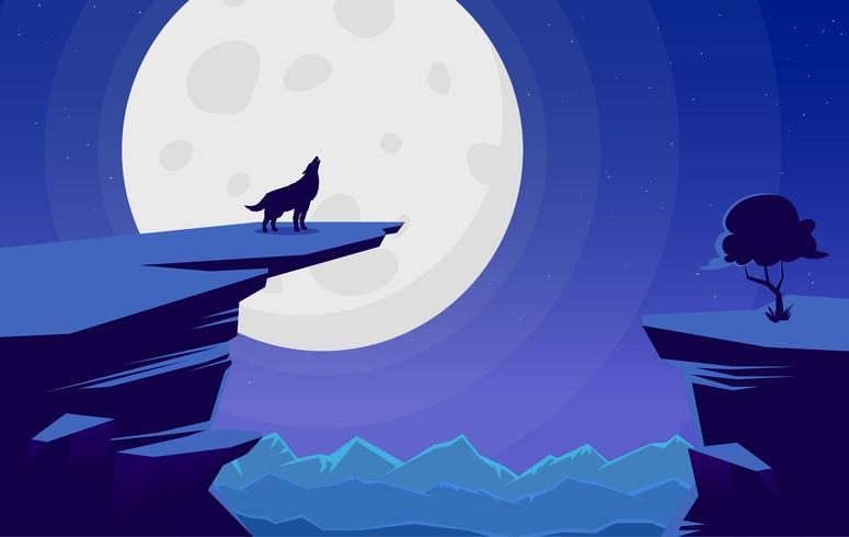 Vectorlandschap met Wolf Illustration vector