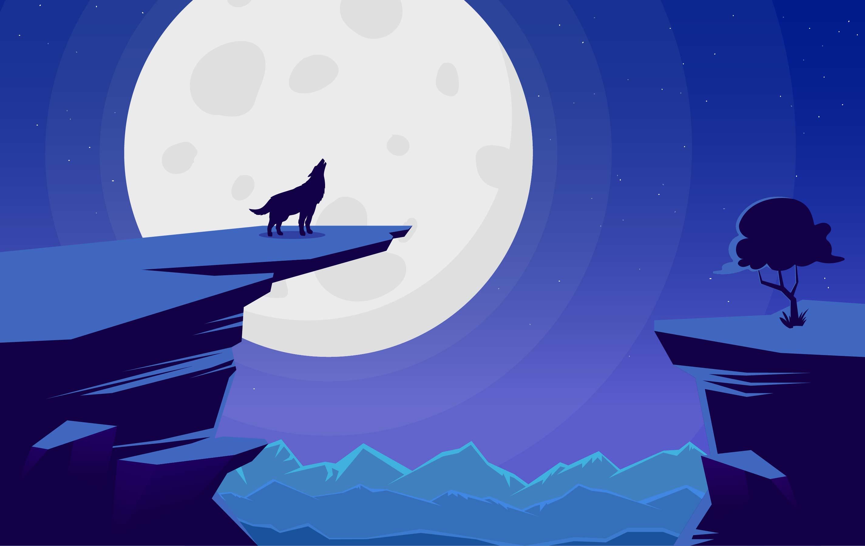 Landscape Illustration Vector Free: Vector Landscape With Wolf Illustration