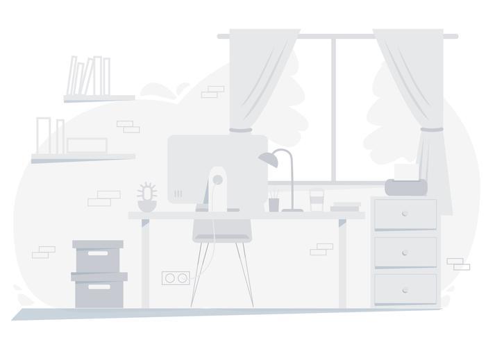 Vector ilustración de la habitación del diseñador