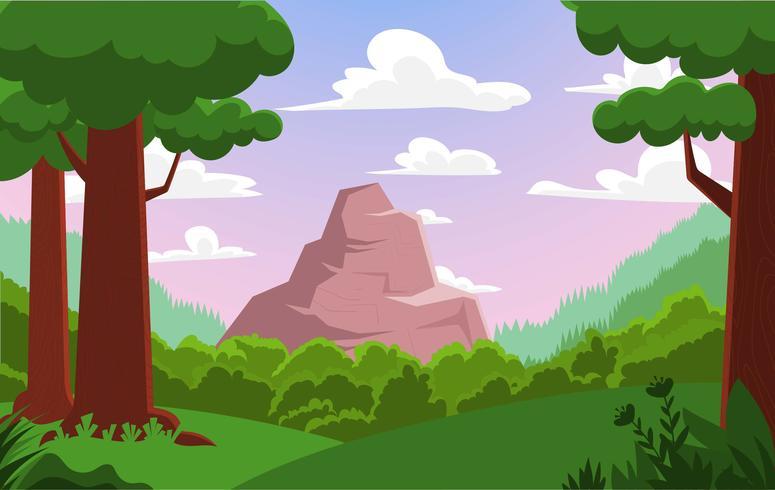 Ilustración del paisaje del bosque del vector
