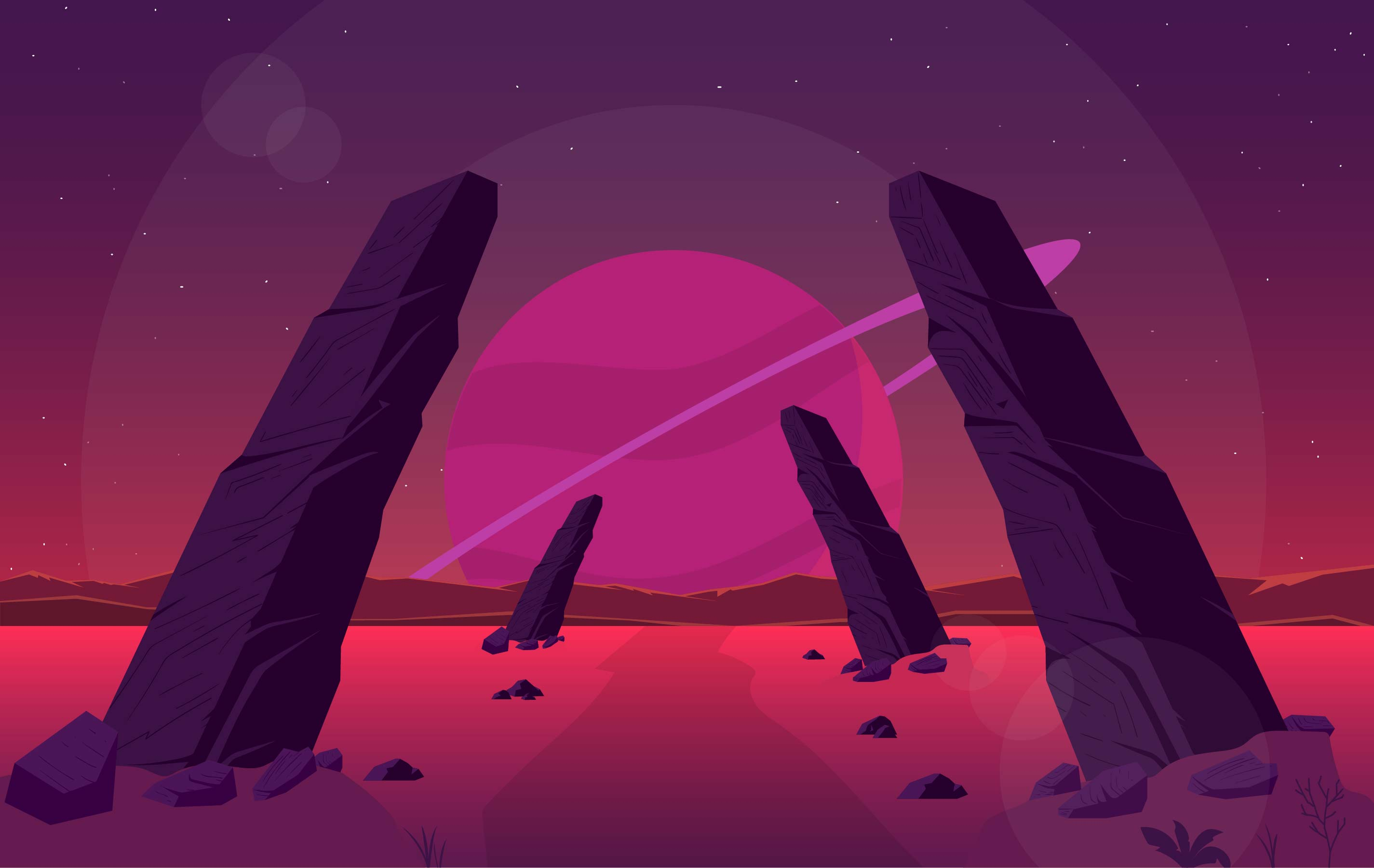 Landscape Illustration Vector Free: Vector Fantasy Landscape Illustration
