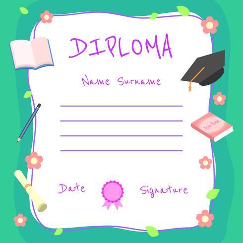 Girly Kindergarten Diploma Certificate Vector