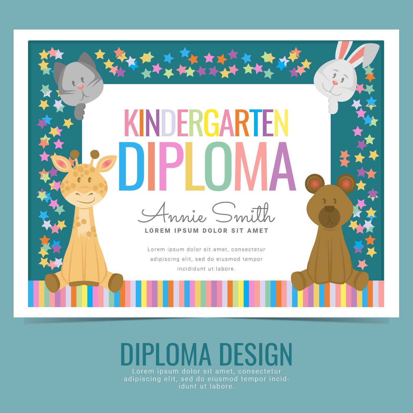 Vector Kindergarten Diploma - Download Free Vector Art, Stock ...