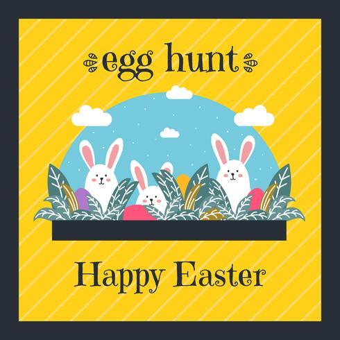 Vetor de cartão de caça ao ovo de Páscoa