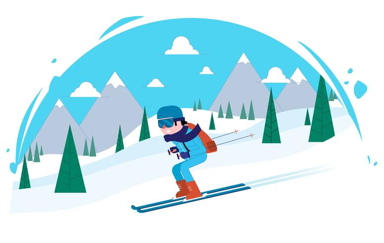 Vector esquiador personagem ilustração