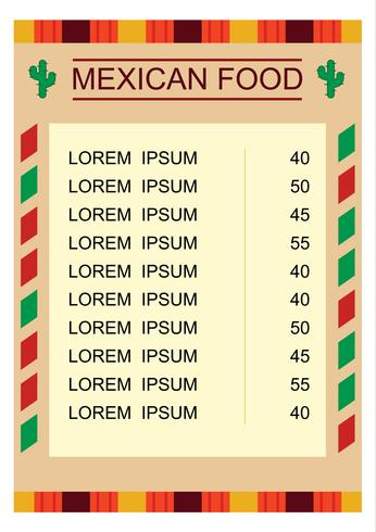 Mexican Food Menu With Illustration