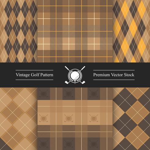 Vintage golfpatroon set, bruine kleur