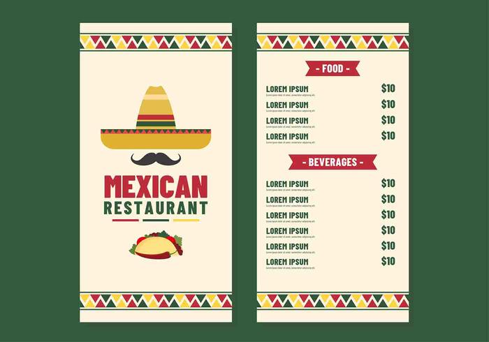 Vecteur de menu de restaurant mexicain