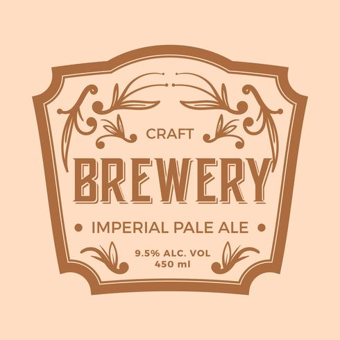 Flat Imperial Pale Ale Label Vector