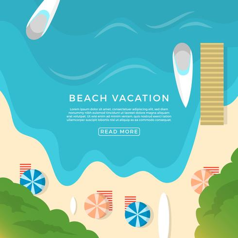 Flat Beach Vacation Vector Illustration