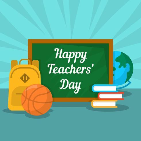 Flache Tag der Lehrer-Vektor-Illustration