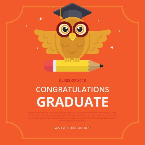 Graduation Card Illustration with Owl and Graduation Hat.