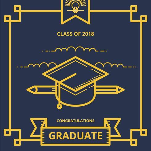 Salutations d'illustration de carte de graduation avec le chapeau de graduation et la lettre de diplôme