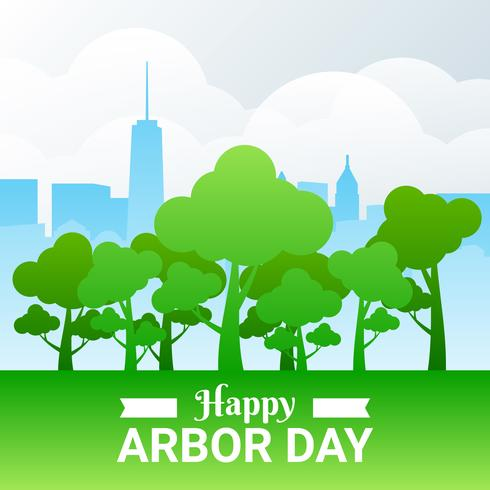 Arbor Day Illustration With Forest And City Over Cloud Background