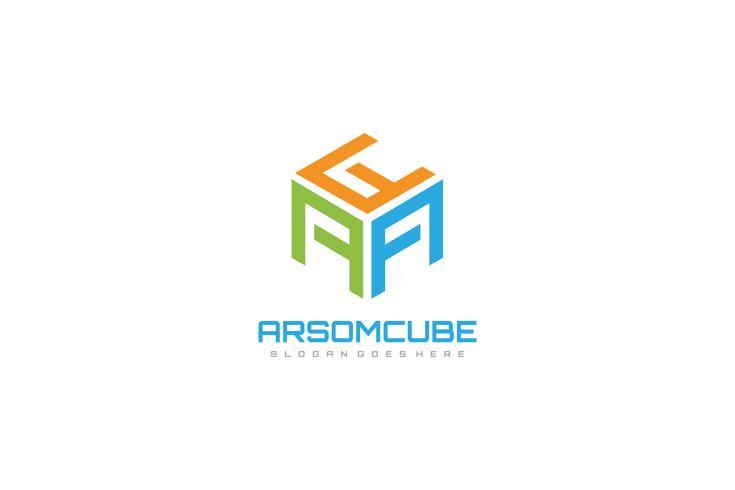 logotipo de letras cúbicas