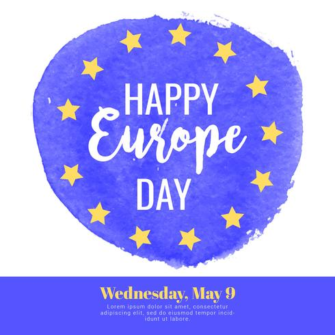 Vector Europe Day Watercolor Banner
