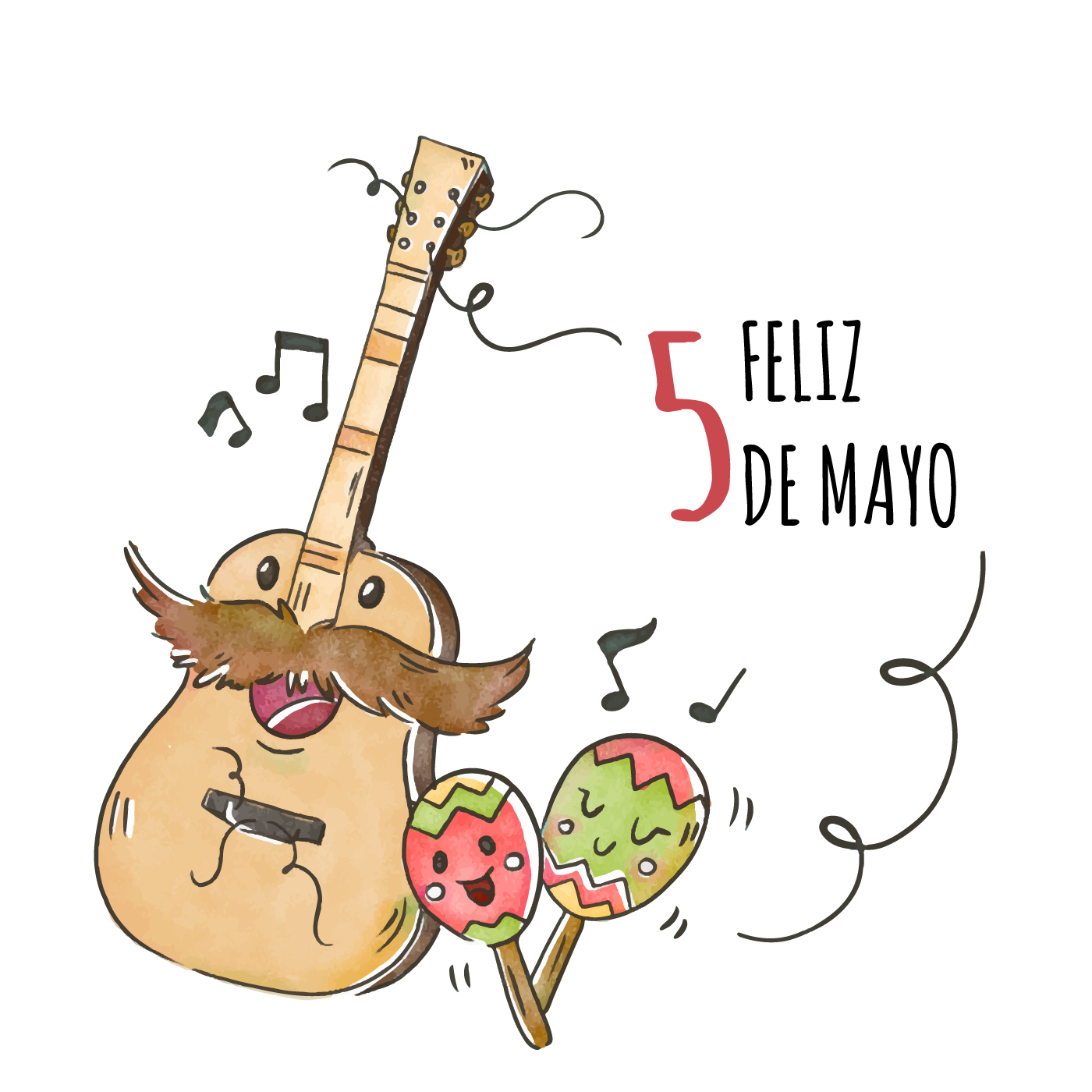 Cute Guitar Character With Maracas And Music Notes ...