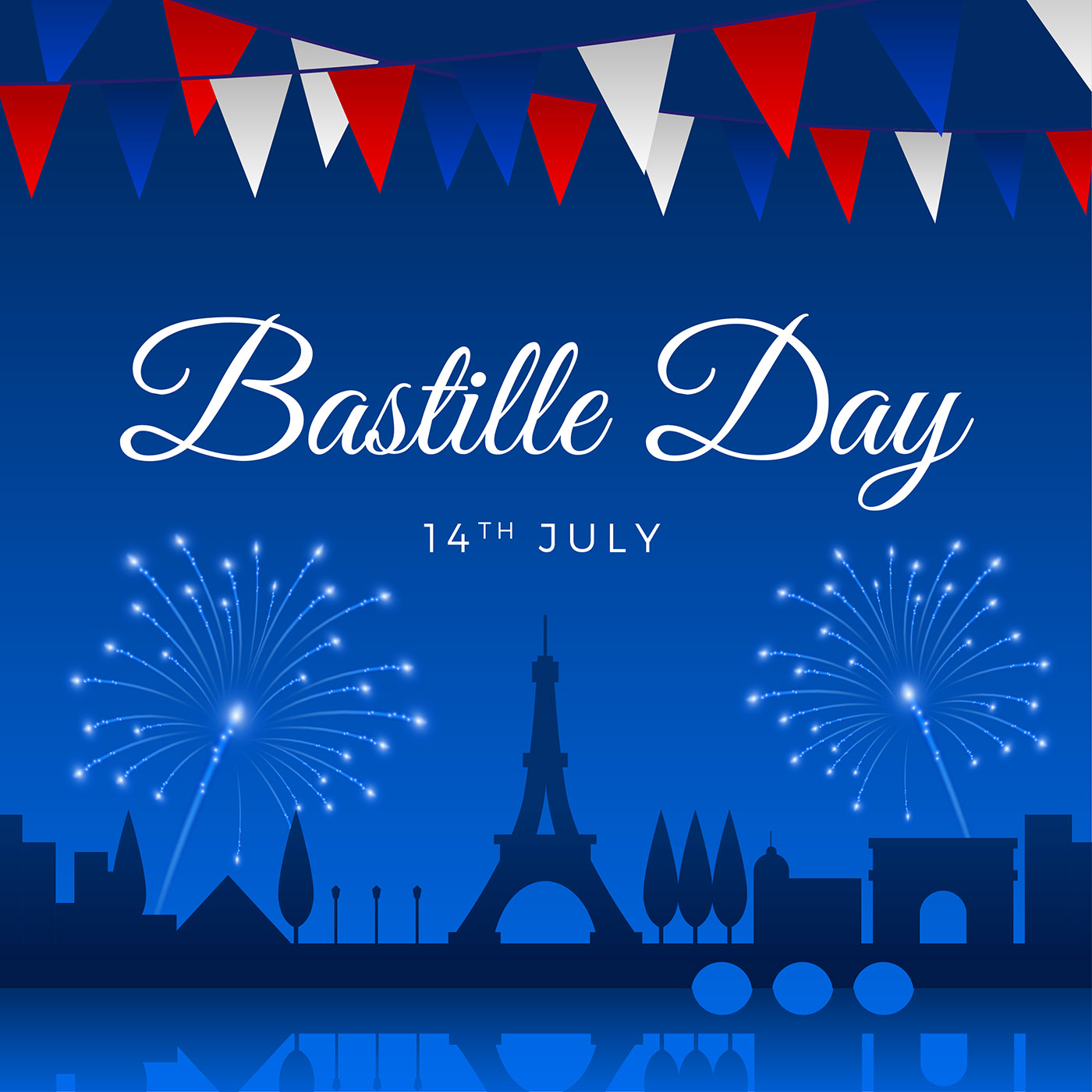 bastille day greeting template vector