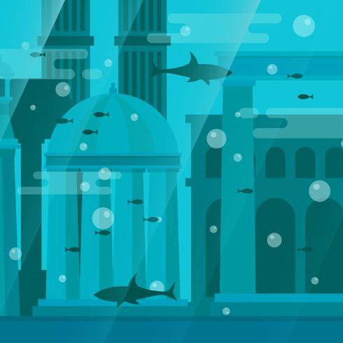 Cidade da ilustração vetorial de Atlantis