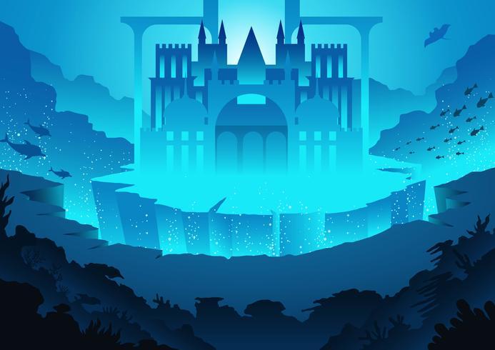 Paisaje de la ciudad de Atlantis vector