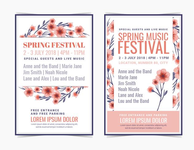 Vector Spring Festival Posters