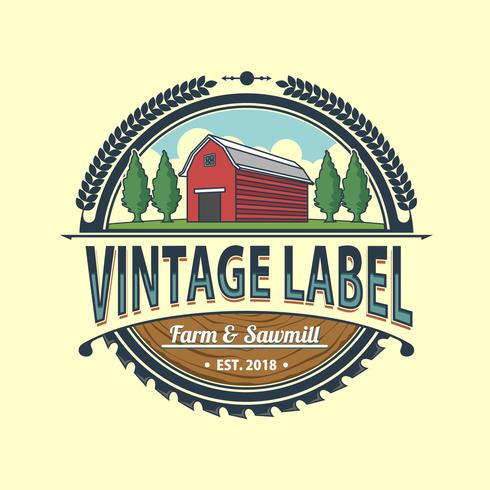 Vintage Farm And Sawmill Label Vector