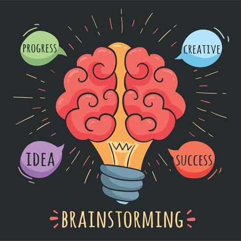 Conceito de brainstorming no vetor preto
