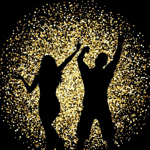 Silhouettes of people dancing on gold glitter background