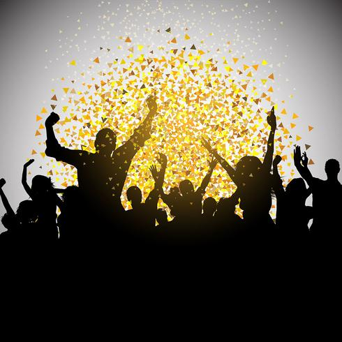 Excited party crowd on confetti background