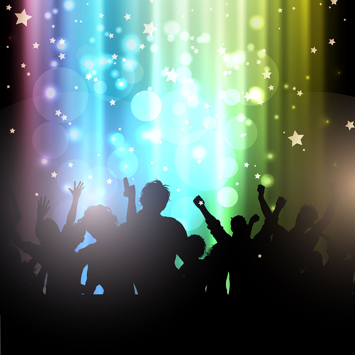 Party People On Bokeh Lights Background Download Free