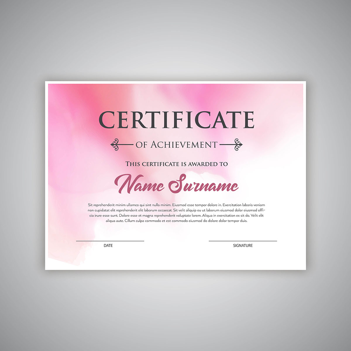 watercolour certificate background
