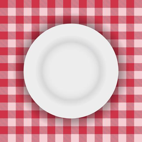 White plate on a table cloth