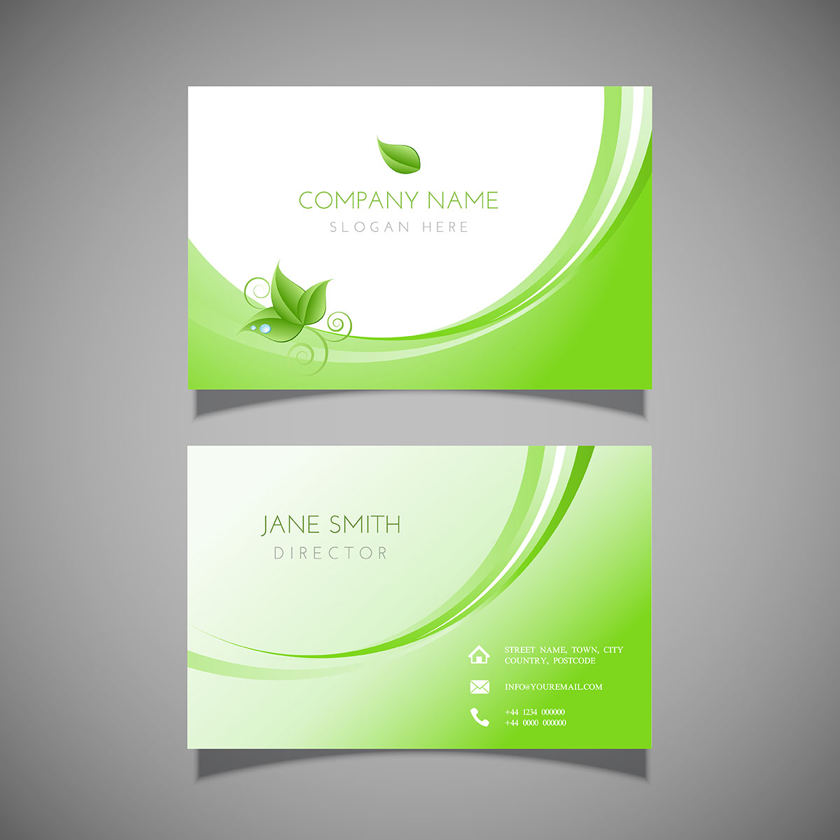 business card with leaf design 204326 vector art at vecteezy