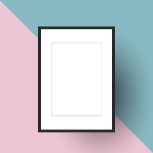Blank picture frame on two tone background