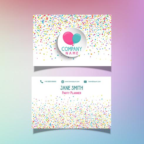 Balloons and confetti business card