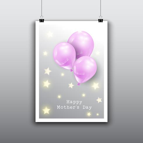 Happy Mother's Day card design with balloons
